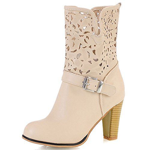 Dress Heels Boots Block Ivory Women High Fashion High Ankle Cutout Party COOLCEPT vqYpFcp