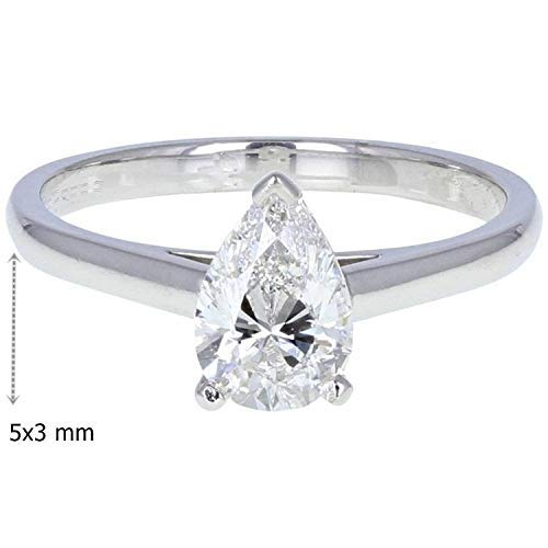 GIA Certified 0.30 Carat Natural Diamond Pear Cut 14K White Gold Wedding Ring