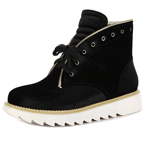 Shoes Lace TAOFFEN Black Up Booties Women's AOqYHI