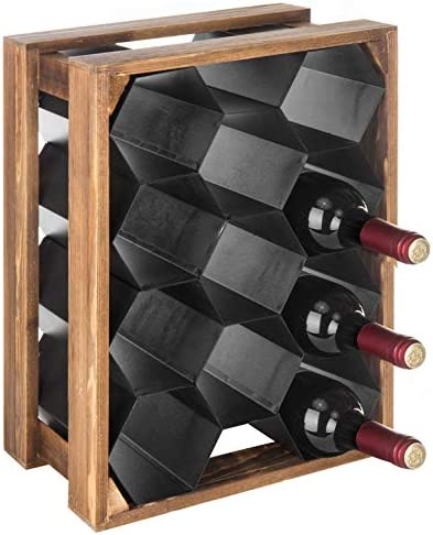 MyGift 11-Bottle Wood Metal Countertop Honeycomb Design Wine Rack