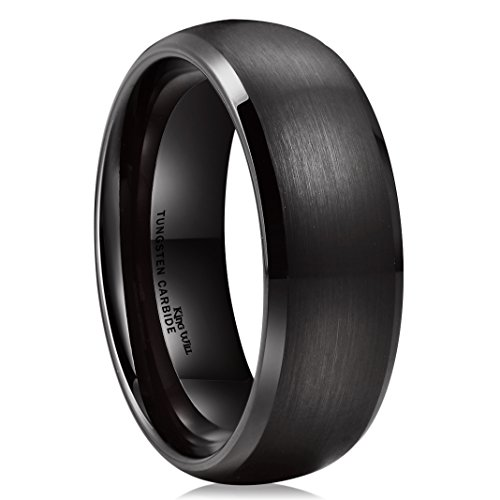King Will TYRE Black Domed Tungsten Ring 8mm Brushed Matte Finished Wedding Band Size(10)