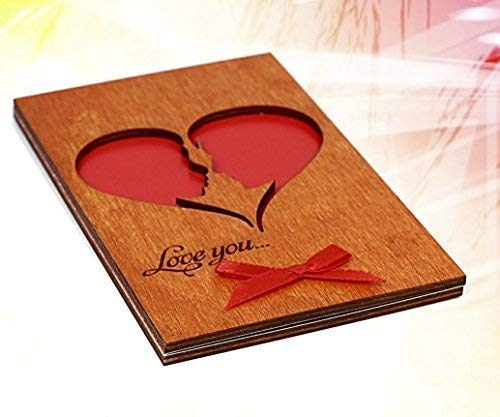 Handmade Real Wood Stylish Greeting Card Love You He and She (Soulmates) as a Big Heart Unique Gift Idea for Bday Wedding Day 5th Wooden Dating Anniversary Best Christmas Holiday Keepsake for Him Her