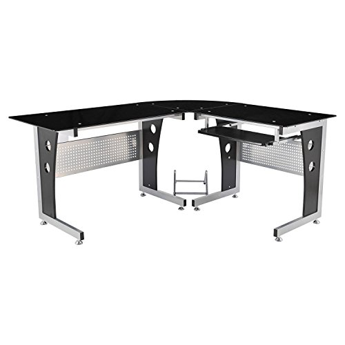 HomCom 64'' Modern L-Shaped Dark Glasstop Office Workstation Computer Desk - Black by HOMCOM