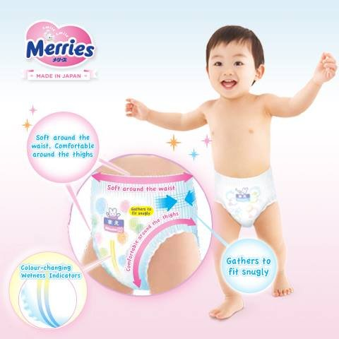 Japanese diapers - nappies Merries PL (9-14 kg) 44psc. Merries pañales: Amazon.es: Bebé