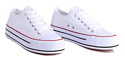 Honeystore Womens Fashion Low-Top Sneakers Platform Flats Lace up Canvas Shoes White-02 nnKXv