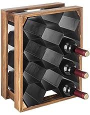 MyGift 11-Bottle Wood & Metal Countertop Honeycomb Design Wine Rack