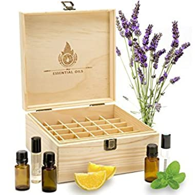 Essential Oil Box Organizer - Best Solution For Roller Ball Bottles. Holds 36 Oils (5ml 15ml & 10ml Tall Rollers). Natural Pine, Wooden Storage Case. Display doTERRA Young Living Plant Therapy & More