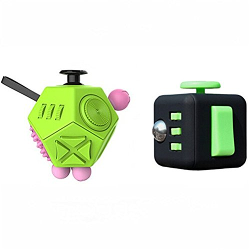 Glass Tri Point (2 Pcs Fidget Dice II and Dice I 12 Sides Fidget Cube and Fidget cube - Stress Anxiety and Boredom Relief Weeambo Anti-anxiety and Depression Toys for Children and Adults (Green/ Black))
