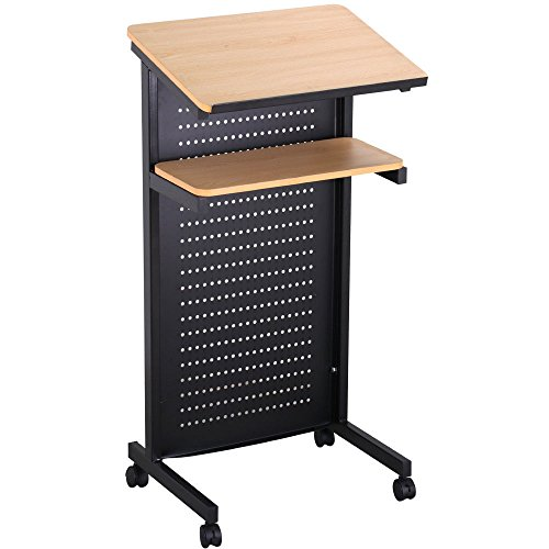 Wheeled Lectern Rolling Podium Mobile Compact Stand up Desk Storage Shelf + FREE E-Book by Eight24hours