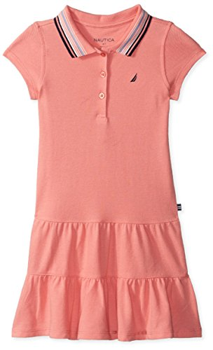 Nautica Girls' Little Short Sleeve Fashion Dress, Salmon Pique, 4 (Nautica Brillen)