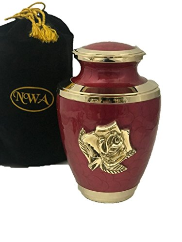 NWA Red Rose Large Funeral Cremation Urn with Velvet Bag