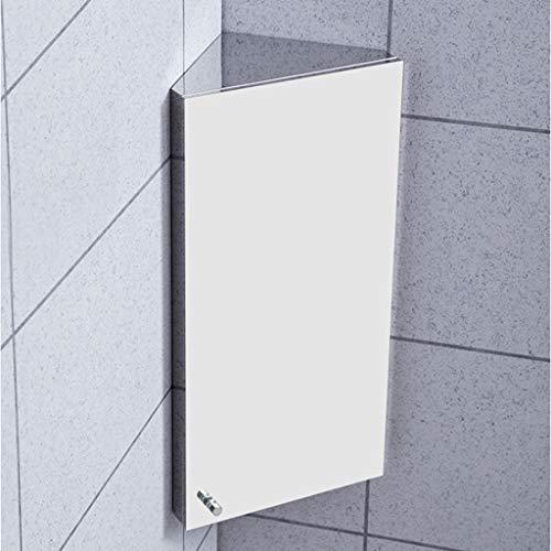 Hermsi Wall Mount Corner Medicine Cabinet Bathroom Stainless Steel Storage Cabinet Three -