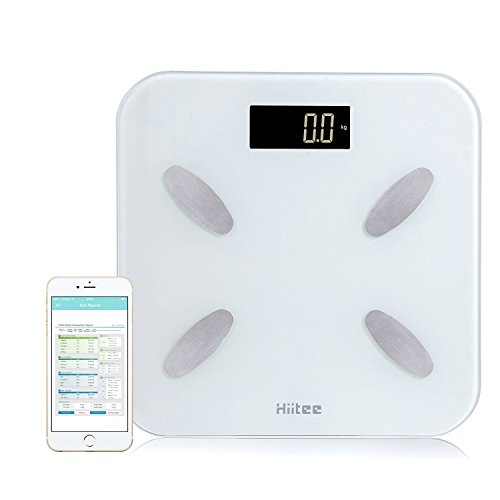 HIITEE Bluetooth 4.0 Body Fat Monitor Smart Scale-Accurate Digital Bathroom Body Composition Scales-BMI BMR Bone Mass Water Analyzer With Smartphone App for Healthy Weight Loss Tracking