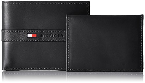 Tommy Hilfiger Men's Ranger Leather Passcase Wallet with Removable Card Holder,Black,One Size