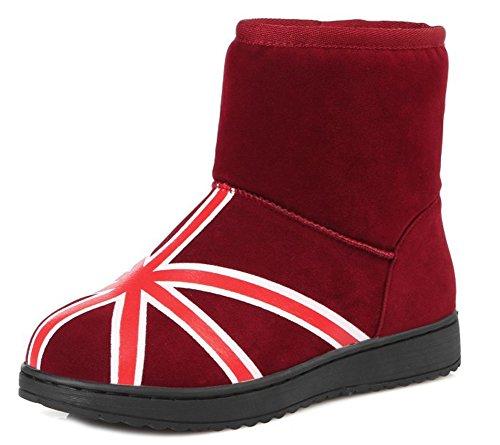Bottines Plates Femme Aisun Talons De Hiver Confort Rouge Chaussures 01qtwPFq