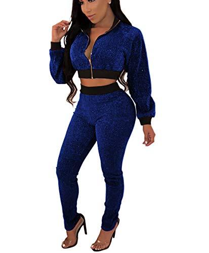 (Mycherish Women's Sexy Long Sleeve Zip Jackets Glitter Bodycon Sheath Long Pants Set 2 Pieces Outfit Jumpsuits Blue XXL)