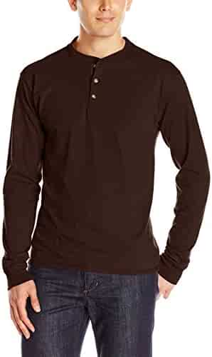 Hanes Men's Long-Sleeve Beefy Henley T-Shirt - X-Large - Dark Truffle