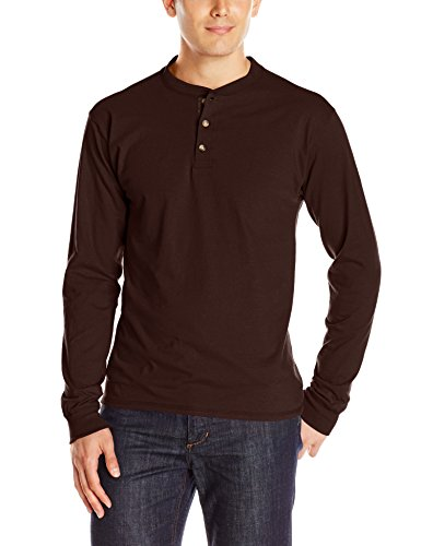 Hanes Men's Long-Sleeve Beefy Henley T-Shirt - X-Large - Dark Truffle -