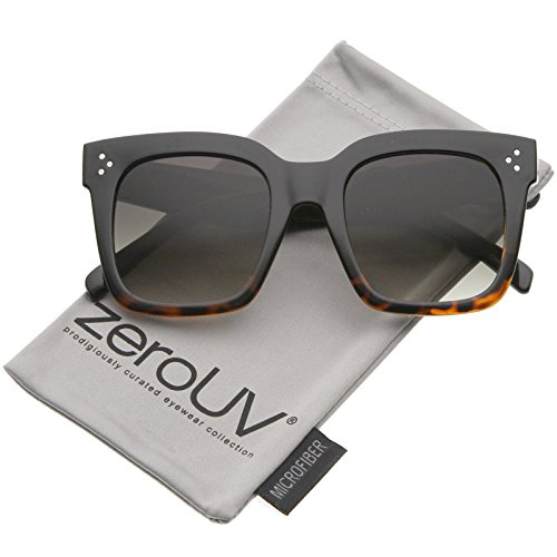 zeroUV - Modern Two-Toned Bold Frame Square Horn Rimmed Sunglasses 50mm (Black-Tortoise Fade / - Or Tortoise Black Sunglasses