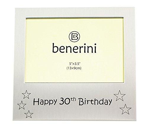 benerini Happy 30th Birthday - Photo Frame Gift - Photo Size 5 x 3.5 Inches (13 x 9 cm) - Brushed Aluminum Satin Silver Color. 30th Birthday Photo Frames
