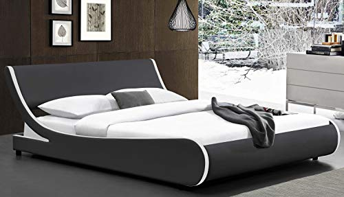 Bedroom Amolife Modern Full Platform Bed Frame with Adjustable Headboard,Mattress Foundation Deluxe Solid Faux Leather Bed Frame… modern beds and bed frames