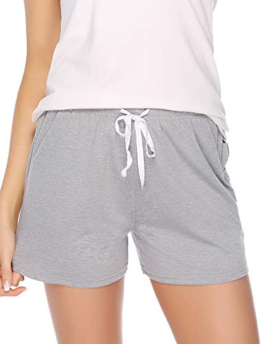 (Aibrou Sleeping Shorts for Women Summer PJ Short with Pockets Cotton Pajama Shorts Gray)