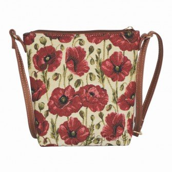 Signare Ladies Red and White Tapestry Lightweight Top Zip Cross body Bag Sling Bag with Adjustable Strap with Poppy Flower (SLING -POP)