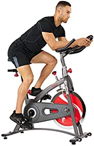 Sunny Health & Fitness Indoor Cycling Bike with 18 KG Flywheel Quiet Belt Drive and Felt / Magnetic Resist