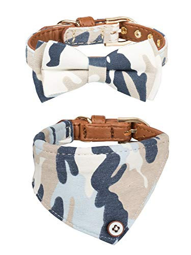 - Gyapet Collar for Cat Small Dog Bandana Bowtie Puppy Kitten 2 Packs Adjustable Scarf Cute Camo camo-Blue