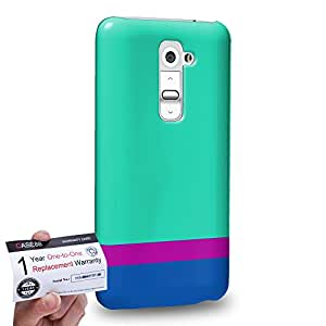 Case88 [LG G2] 3D impresa Carcasa/Funda dura para & Tarjeta de garantía - Art Sea Colour Blocking