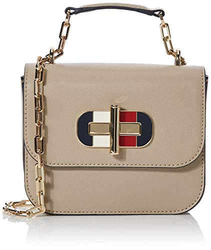 Tommy Hilfiger TURNLOCK MINI CROSSOVERMujerBolsos bandoleraGris (Light Taupe) 5.5x14x16.5 centimeters (B x H x T)