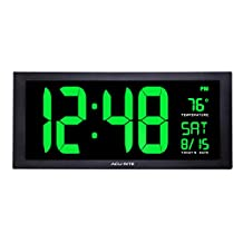 AcuRite 76101M Oversized LED Clock with Indoor Temperature, Date and Fold-Out Stand, 18""
