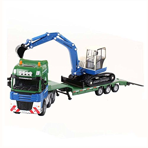 (KAIDIWEI 1:50 Die-Cast Low Loader with Excavator Truck Green Color Metal Model(L x W x H),24cm x 7cm x 4cm )