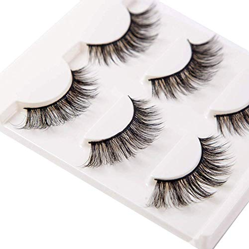 Japanese Doll Makeup Halloween (3D False Eyelashes Extensions 3 Pairs Long Lashes Strip with Volume for Women's Makeup Handmade Soft Fake)
