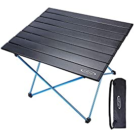 G4Free Portable Camping Table with Aluminum Table Top and Carrying Bag, Folding Ultralight Camp Table in a Bag for…
