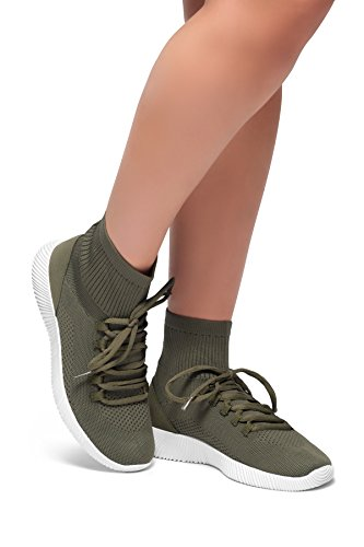 Herstyle Womens Onefour- Knit fitted sock sneakers Olive XyzT7SxWF