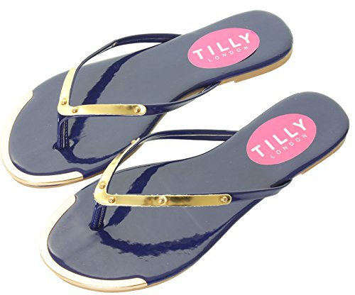 Ladies Womens Black Shoes Sandals Blue White Flip Flops Beach Summer Gold Toe Thongs Navy Gwrt6z3cqY