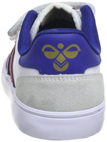 hummel STADIL JR LEATHER LOW Unisex-Kinder Sneakers Weiß (White/Blue/Red/Gum)