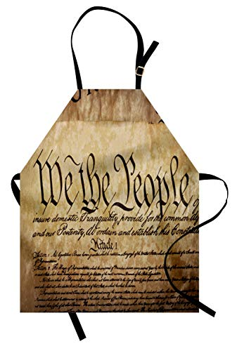 - Ambesonne United States Apron, Vintage Constitution Text of America National Glory Fourth of July Image Unisex Kitchen Bib Apron with Adjustable Neck for Cooking Baking Gardening, Pale Brown