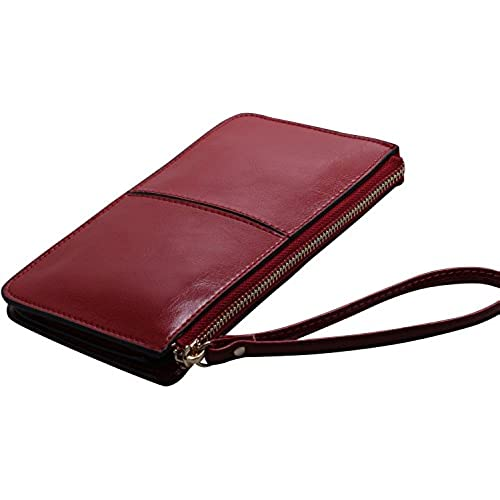 KKMO Woman Girl Zipper Wallet Soft Genuine Long Leather Case Credit Card Holder/Cash pocket for iPhone 6 6S Plus 5S Galaxy S6 S7 edge Note 3 4 5, Nexus 6, LG G4 Sales