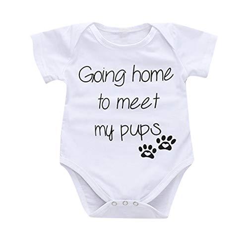 Waymine Newborn Girl Boy Short Sleeve Going Home to Meet My pups Letter Print Romper 0-18M White (Best Way To Meet Girls)