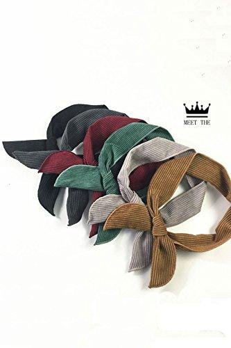 Generic autumn winter _corduroy_ribbon_ retro _cross_rabbit_ earrings _of hair clip hairclip versatile_leisure_ Scarf shawl hair Ornaments _wire_folding_ head hair Headdressband