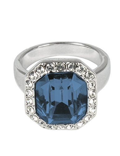 Shaped Bead Cushion (Dahlia Emerald Cut Crystal Rhodium Plated Ring with Crystals from Swarovski, Blue Size 7.5)