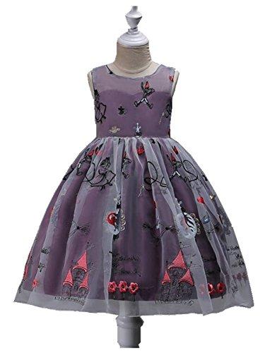 120cm Party Long Dress Sleeveless Princess Girl Dress-Purple - 1