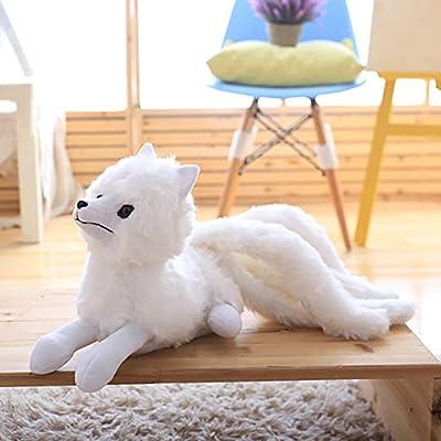 Mr Tree 1 PC 56×26 cm Nine-Tailed White Fox Stuffed Toys Plush Fox Animals Dolls Comfort Pillow Sleeping Soft Embrace Toys for Children,22''×10'': Home & Kitchen