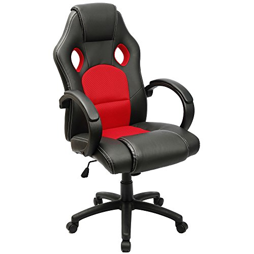 Furmax Gaming Chair High Back PU Leather Computer Chair, Ergonomic Racing Chair,Desk Chair Swivel Executive Office Chair Headrest and Lumbar Support (Red)