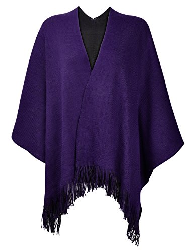 ZLYC Women's Reversible Winter Knitted Faux Cashmere Fringe Poncho Capes Shawl Cardigans Sweater Coat (Purple) ()