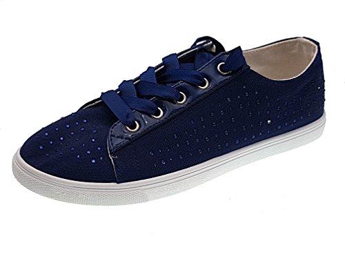 Strass e Lacci Piccoli Scarpe monelli Basse Blu Donna TG Tipo Converse Sport Sneakers con 41 4Tz41qxwHn