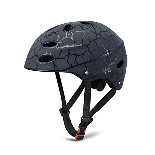 Skate Helmet Adjust Size Multi-impact ABS Shell for Kid / Youth Cycling /Skateboarding/ Skate Inline Skating /Rollerblading (Black) (Skate Helmet Kids)