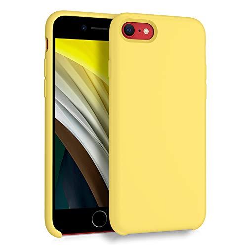 ORNARTO Liquid Silicone Case for iPhone SE(2020), Slim Liquid Silicone Soft Gel Rubber Case Cover for Apple iPhone SE(2020) 4.7 inch-Lemon Yellow